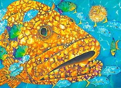 Jean-Baptiste silk painting of a goliath grouper
