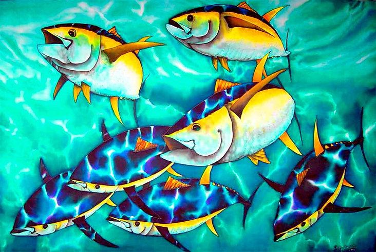 Jean-Baptiste.com Silk Painting of tuna