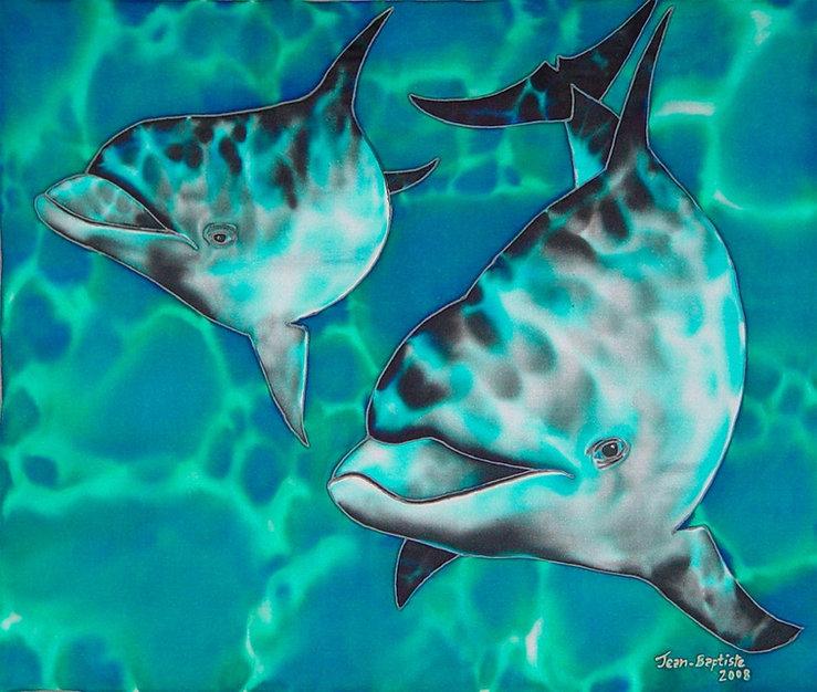 Jean-Baptiste Silk Painting of dolphin