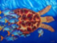 Jean-Baptiste batik silk painting of a sea turtle.