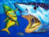 Jean-Baptiste  silk painting of a Mako shark & mahi mahi fish
