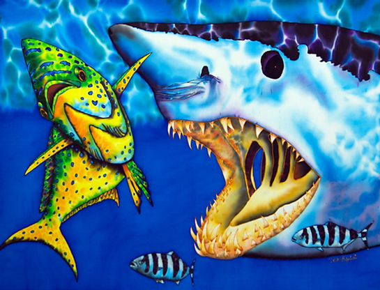 Jean-Baptiste  silk painting of a Mako shark & mahi mahi fish