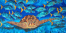 Jean-Baptiste silk painting of a sea turtle & Jacks