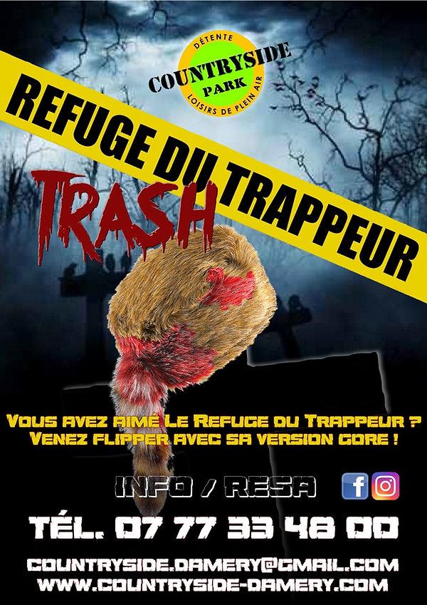 Affiche Escape Game REFUGE TRAPPEUR TRASH
