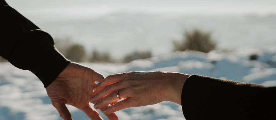Ross and Stacey's Winter Engagement in the snow.