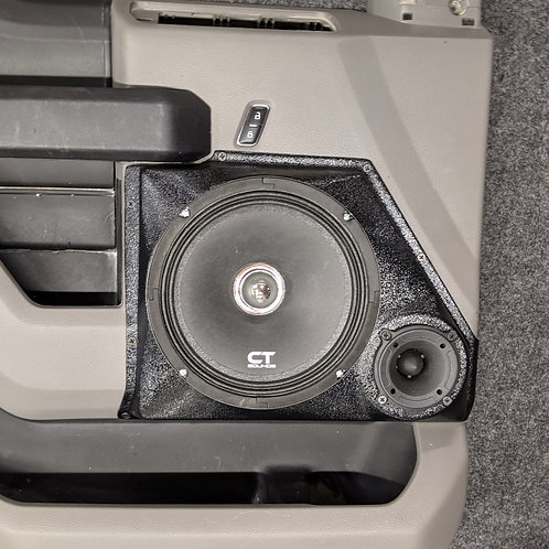 "ford f-150 f-250 f-350 front door custom speaker pods 8"" and 3.5"" component stereo system upgrade panel"
