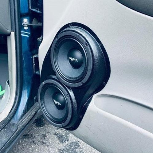 chevrolet chevy trailblazer front door dual 6 speaker pods stereo upgrade installation fiberglass passenger