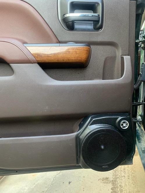 "14-18 silverado sierra crew cab rear door speaker pods for 6.5"" component stereo upgrade"