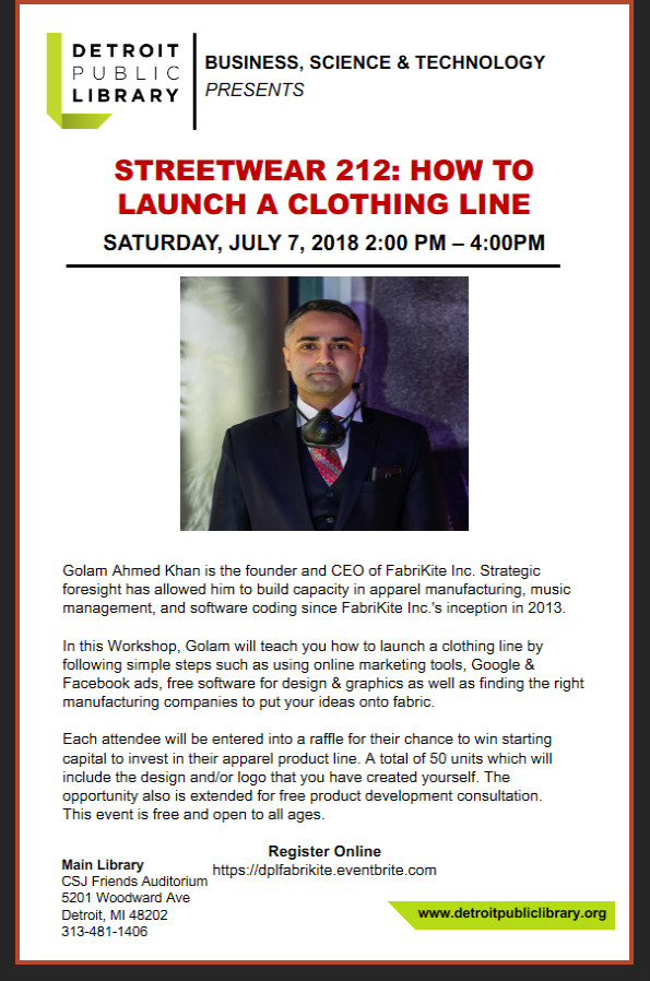 Golam Ahmed Khan invited to develop and conduct Apparel Workshop in collaboration with Detroit Publi