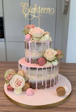Two Tier Naked Drip Cake