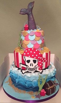 Three Tier themed celebration cakeand Mermaids theme. Decorated top to toe with handmade decoration.