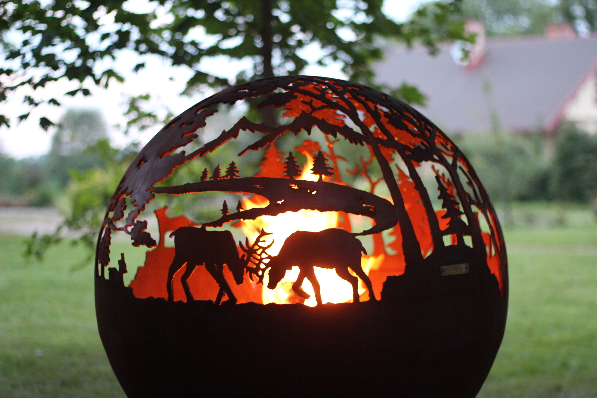 Sphere fire pit forest
