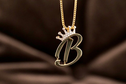 Solid Initial Pendant with Diamond Crown