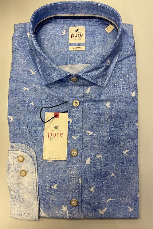 Pure long sleeves white/ blue shirt