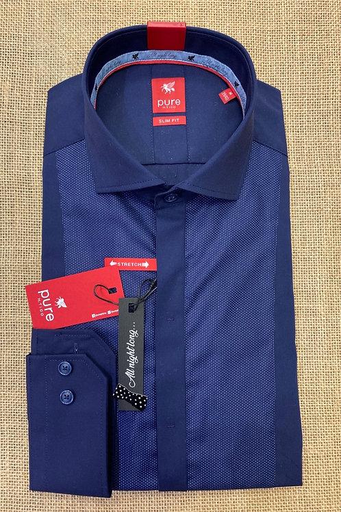 Pure long sleeves navy blue shirt