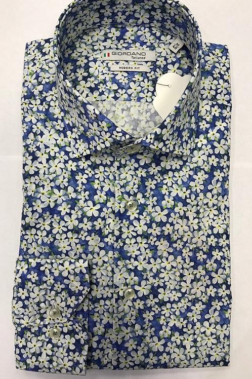 Giordano blue base/white flowers print shirt