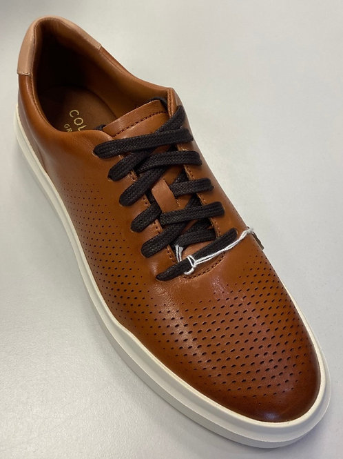COLE HAAN Men's GrandPrø Rally Laser Cut Lace Up Trainer British Tan/Ivory