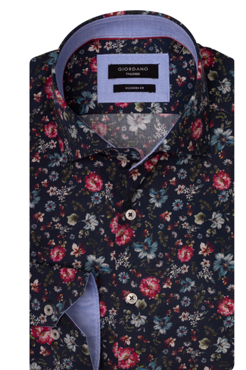 Giordano 927840-60 navy base/multi floral print shirt
