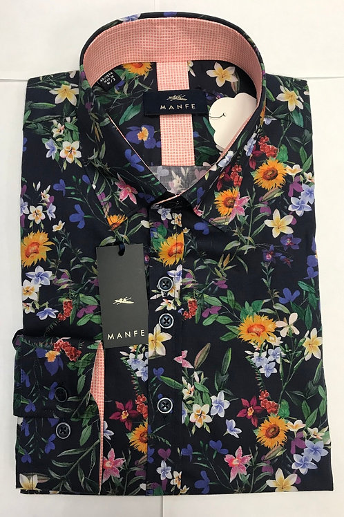 Manfe multi colors flowers print shirt