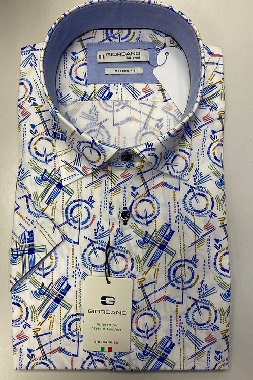 Giordano Short sleeve Cotton White Pat shirt