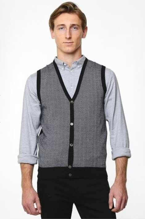 Thomas Main Navy Black grey waistcoat