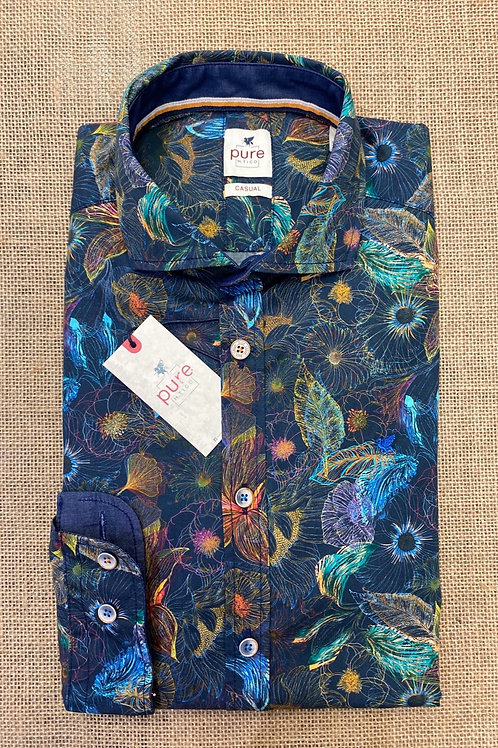 Pure c91506 long sleeves floral blue print shirt