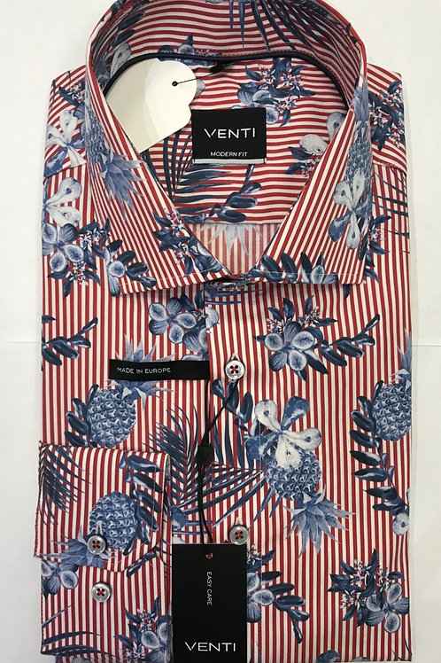 VENTI Long sleeved shirt white/red strips with blue flowers