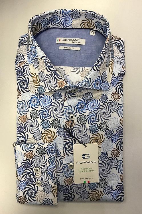 Giordano white base/blue, brown  print shirt