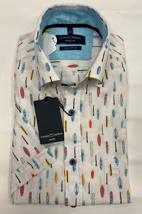 Casa 903420200 Moda short sleeve shirt in white pat