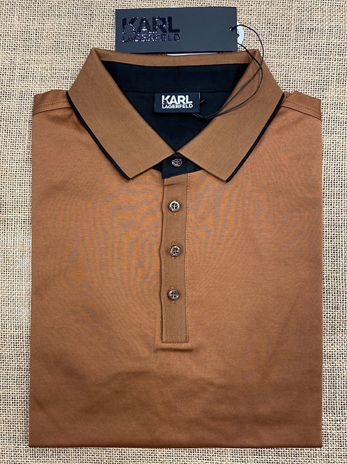 Karl  502200-420 Lagerfeld long sleeve medbrown polo  shirt