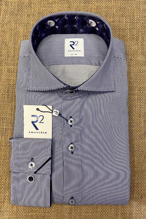 R2  Long sleeves blue stripe shirt