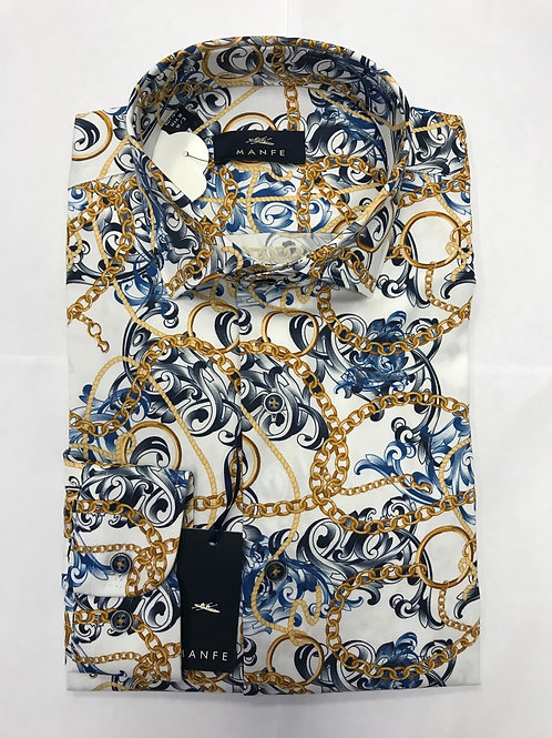 Manfe white base/gold,blue colours print shirt