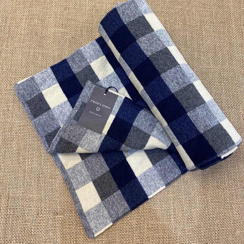 Profuomo pp1s30009 navy blue check scarf