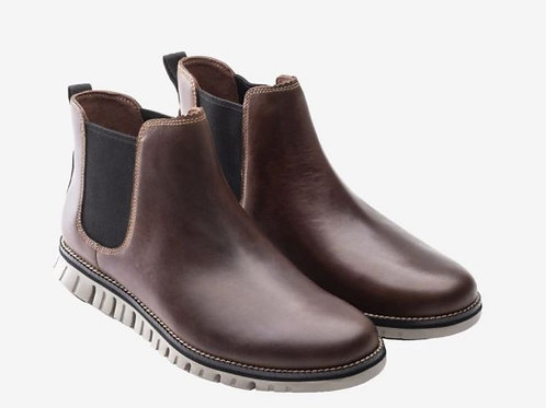 COLE HAAN Men's ZERØGRAND Leather Brown Chelsea  Boot