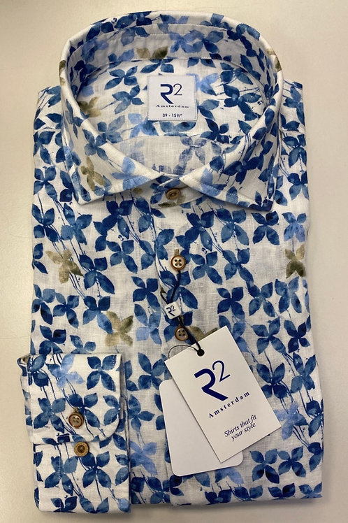 R2 Long sleeves Linen,  white Pat shirt