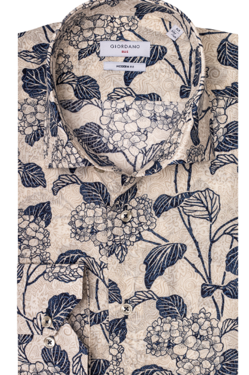 Giordano 927510-62 natural base/navy floral print shirt
