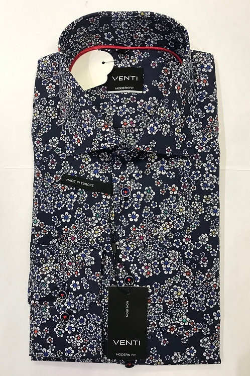 VENTI Long sleeved shirt Navy blue base/multicolor flowers