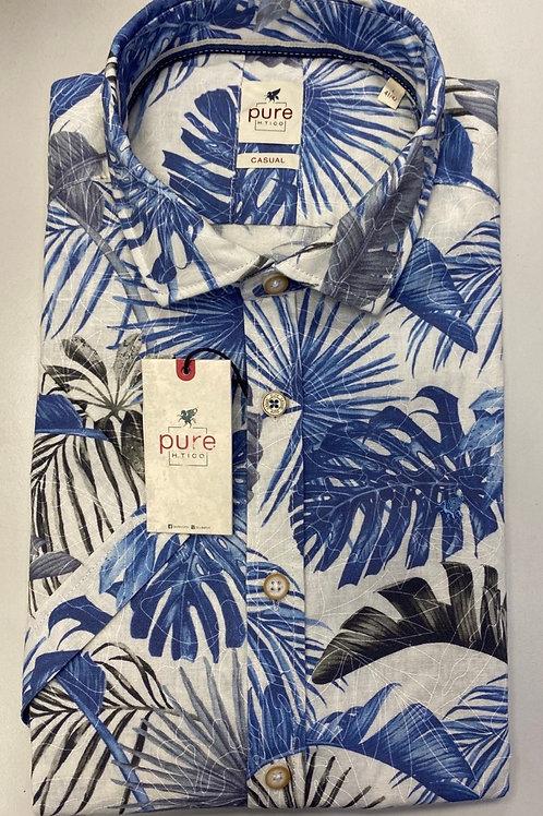 Pure Short sleeve Floral blue shirt