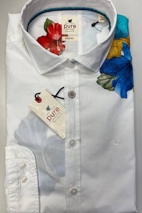 Pure shirt long sleeves white/ flowers print shirt