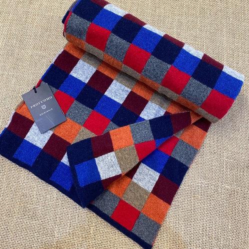 Profuomo pp1s30009 navy burgundy check scarf