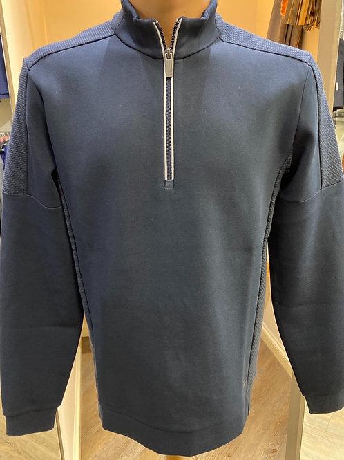 Thomas Main Navy Blue Zip Neck Knitwear