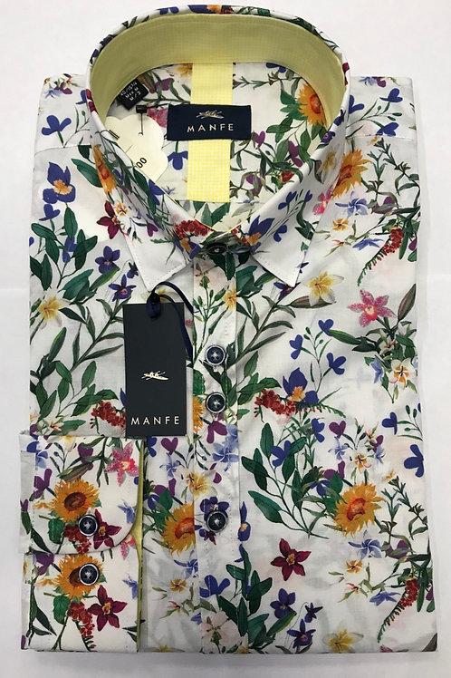 Manfe white base/multi colors flowers print shirt