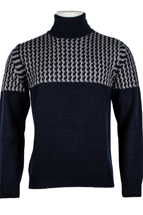 navy wool roll neck