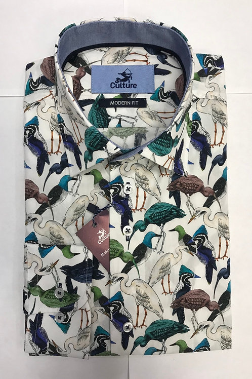 Culture white base/ colorful birds print shirt