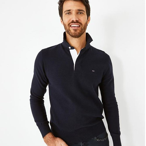Eden Park Navy blue Colorbow jumper with embroidered rugby shirt collar