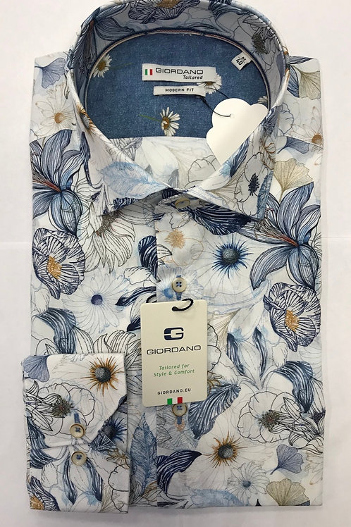 Giordano white flowers print shirt