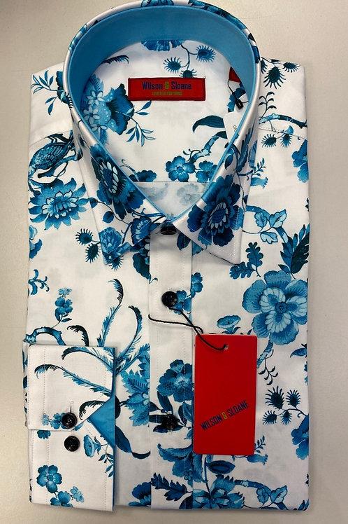 Wilson&Sloane white base/blue flowers shirt