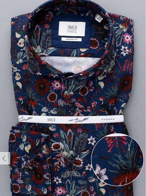 Eterna3957-59 Navy/pattern Long sleeve shirt