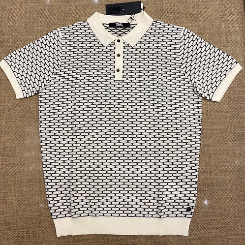 Karl 502399-991 Lagerfeld short sleeve white pat wool polo  shirt