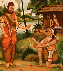 Why did Dronacharya ask for the thumb finger from Eklavya